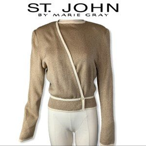 St. John High Neck Crossover Sweater Jacket